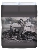 1930's Indian Motorcycle Mama Duvet Cover