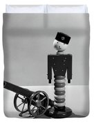 1930s Wooden Toy Soldier Next To Cannon Duvet Cover