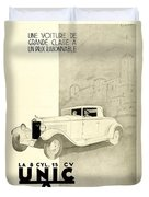 1931 - Unic 8 French Automobile Advertisement Duvet Cover