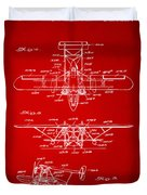1932 Amphibian Aircraft Patent Red Duvet Cover