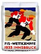 1933 Austrian Ski Race Poster Duvet Cover