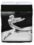1933 Plymouth Hood Ornament -0121bw Duvet Cover