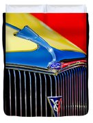 1934 Ford Deluxe Coupe Grille Emblems Duvet Cover
