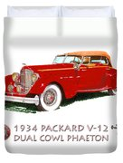 1934 Packard V-12 Dual Cowl Phaeton Duvet Cover