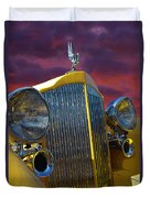 1934 Packard With Posterized Edge Texture Duvet Cover