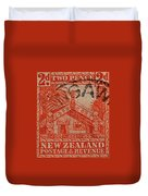 1935 Carved Maori House New Zealand Stamp Duvet Cover