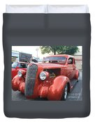 1936 Plymouth Two Door Sedan Front And Side View Duvet Cover
