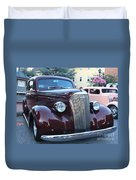 1937 Chevy Two Door Sedan Front And Side View Duvet Cover