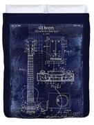 1937 Gibson Electric Guitar Patent Drawing Blue Duvet Cover