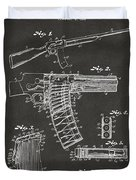 1937 Police Remington Model 8 Magazine Patent Artwork - Gray Duvet Cover