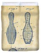 1939 Bowling Pin Patent Artwork - Vintage Duvet Cover