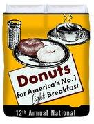 1940 Donut Poster Duvet Cover