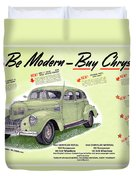 1939 Imperial Vintage Automobile Ad Duvet Cover