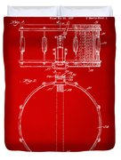 1939 Snare Drum Patent Red Duvet Cover