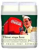 1940 - Coca-cola Advertisement - Color Duvet Cover