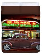 1940 Ford Deluxe Coupe At Mickeys Dinner  Duvet Cover