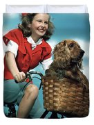 1940s 1950s Smiling Teen Girl Riding Duvet Cover