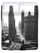 1940s Downtown Skyline Michigan Avenue Duvet Cover