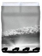 1940s Line Of Anonymous Silhouetted Duvet Cover