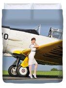 1940s Style Navy Pin-up Girl Leaning Duvet Cover by Christian Kieffer