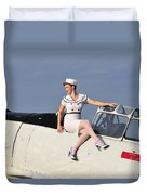 1940s Style Pin-up Girl Sitting Duvet Cover