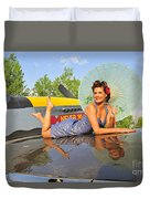 1940s Style Pin-up Girl With Parasol Duvet Cover