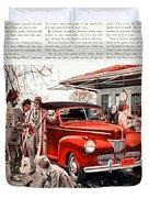 1941 - Ford Super Deluxe Automobile Advertisement - Color Duvet Cover