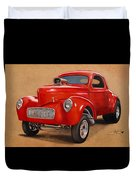 1941 Willys Gasser Coupe Drawing Duvet Cover