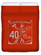 1945 Czechoslovakia Newspaper Stamp Duvet Cover