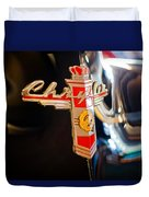 1947 Chrysler New Yorker Town And Country Convertible Emblem Duvet Cover