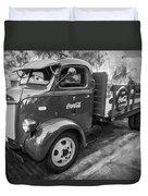 1947 Ford Coca Cola C.o.e. Delivery Truck Bw Duvet Cover