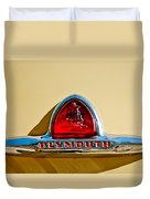 1948 Plymouth Deluxe Emblem Duvet Cover