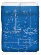 1948 Sailboat Patent Artwork - Blueprint Duvet Cover
