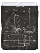 1948 Sailboat Patent Artwork - Gray Duvet Cover