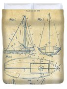 1948 Sailboat Patent Artwork - Vintage Duvet Cover by Nikki Marie Smith