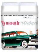 1950 - Plymouth Suburban Station Wagon Automobile Advertisement - Color Duvet Cover