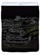 1950 Ford Coupe Neon Glow Duvet Cover