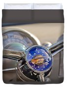1950 Oldsmobile Rocket 88 Steering Wheel Duvet Cover by Jill Reger