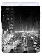 1950s 1953 Night Scene Of Chicago State Duvet Cover