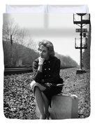 1950s 1960s Woman Sad Worried Facial Duvet Cover