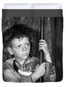 1950s Boy Wearing Raccoon Skin Hat Duvet Cover
