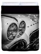 1950's Chevrolet Corvette C1 In Black And White Duvet Cover