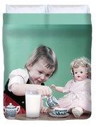 1950s Little Girl Toddler And Baby Doll Duvet Cover