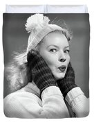 1950s Young Woman Pursing Lips Hands Duvet Cover