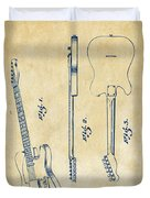 1951 Fender Electric Guitar Patent Artwork - Vintage Duvet Cover