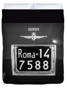 1951 Ferrari 212 Export Berlinetta Rear Emblem - License Plate -0775bw Duvet Cover