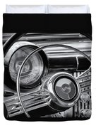 1953 Buick Super Dashboard And Steering Wheel Bw Duvet Cover