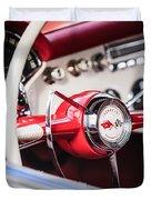 1953 Chevrolet Corvette Steering Wheel Emblem -1400c Duvet Cover