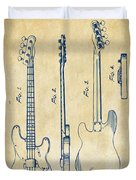 1953 Fender Bass Guitar Patent Artwork - Vintage Duvet Cover