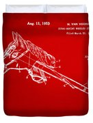 1953 Horse Toy Patent Artwork Red Duvet Cover by Nikki Marie Smith